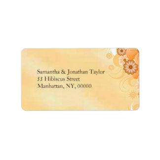 Ivory Gold Hibiscus Floral Medium Wedding Labels