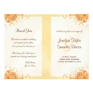 Ivory Gold Peach Floral Bi-Fold Wedding Programs 21.5 Cm X 28 Cm Flyer