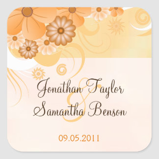 Ivory Gold Peach Floral Wedding Favor Stickers