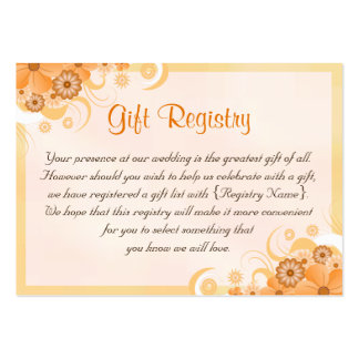 Ivory Gold Peach Floral Wedding Gift Registry Card Pack Of Chubby Business Cards
