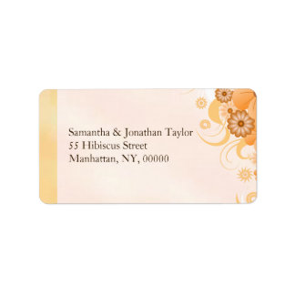Ivory Gold Peach Hibiscus Floral Classy Wedding Label