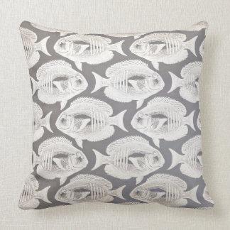 Ivory Gray Pastel Fishes Piranha Grungy Cushion
