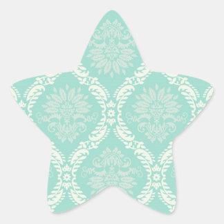ivory greens damask pattern star sticker
