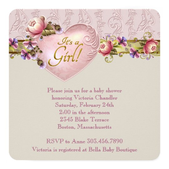 Ivory Heart Flower Pink Damask Baby Shower Card