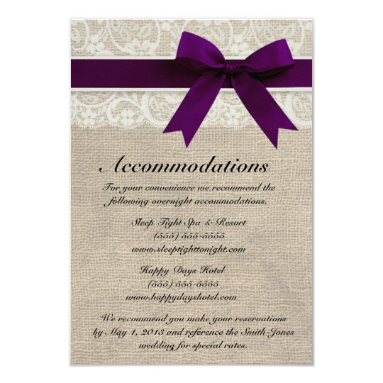 Ivory Lace and Burlap Look Plum Accommodation Card
