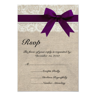 Ivory Lace and Burlap Look Plum RSVP Card