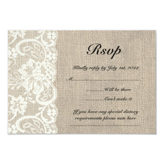 Ivory Lace and Burlap Look Wedding RSVP Card 9 Cm X 13 Cm Invitation Card