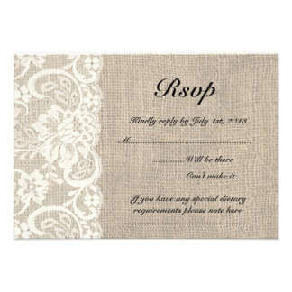Ivory Lace and Burlap Look Wedding RSVP Card