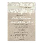 Ivory Lace Burlap Bridal Shower Invitation