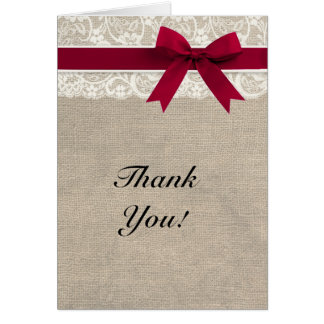 Ivory Lace Burlap Look Thank You Card - Red