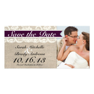 Ivory Lace & Burlap Vintage Save the Date - Plum Personalised Photo Card