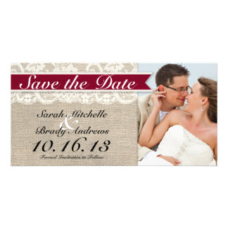 Ivory Lace Burlap Vintage Save the Date - Red Photo Greeting Card