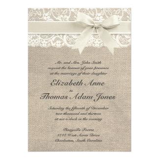 Ivory Lace & Burlap Wedding Invitation - Ivory