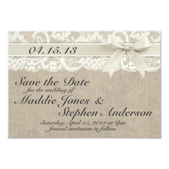 Ivory Lace & Burlap Wedding Save the Date
