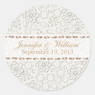Ivory Lace Look Custom Wedding Sticker