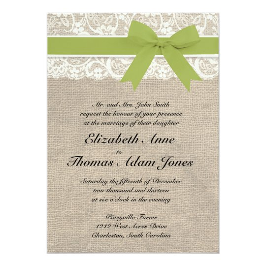 Ivory Lace Look Rustic Burlap Invitation - Olive