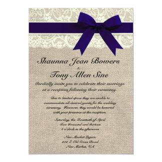 Ivory Lace Navy Blue Burlap Wedding Reception 13 Cm X 18 Cm Invitation Card