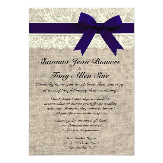 Ivory Lace Navy Blue Burlap Wedding Reception Card