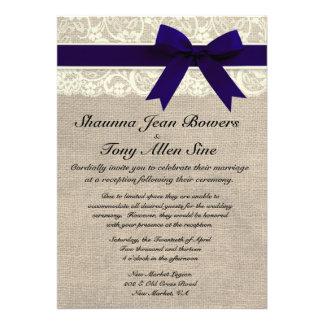 Ivory Lace Navy Blue Burlap Wedding Reception Personalized Invite