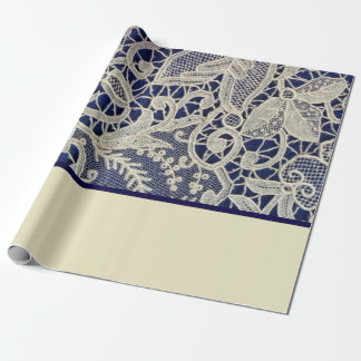 Ivory Lace Navy Blue Elegant Two Tone Wedding Wrapping Paper