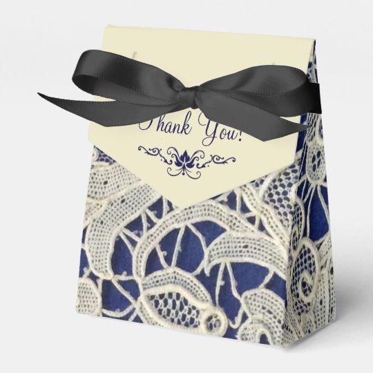 Ivory Lace Navy Blue Elegant Wedding Thank You