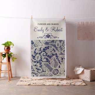 Ivory Lace Navy Blue Formal Reception Backdrop Fabric