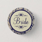 Ivory Lace Navy Blue Formal Wedding Bride 3 Cm Round Badge