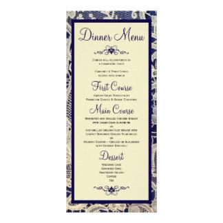Ivory Lace Navy Blue Formal Wedding Dinner Menu Rack Cards