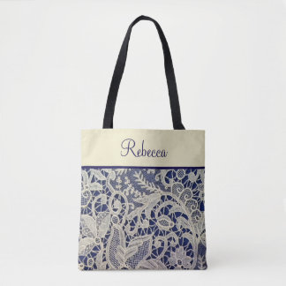 Ivory Lace Navy Blue Wedding Bridesmaid Gift Tote Bag