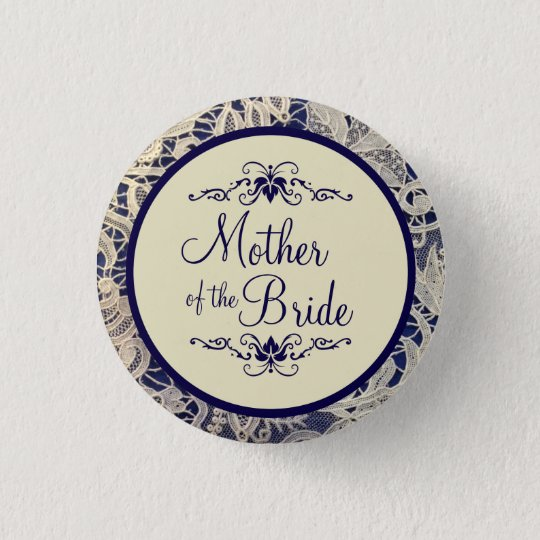 Ivory Lace Navy Blue Wedding Mother of the Bride 3 Cm Round Badge