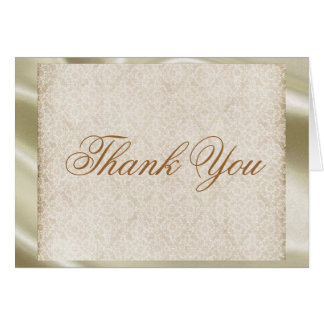 Ivory Lace on Ivory Silk Thank You Card