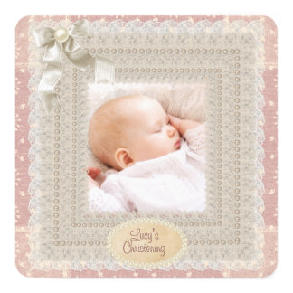 Ivory Lace Pink Pearl Girls Pink Photo Christening 13 Cm X 13 Cm Square Invitation Card