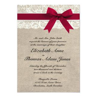 "Ivory Lace Red Ribbon Burlap Wedding Invitation 5"" X 7"" Invitation Card"