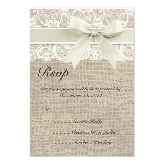 Ivory Lace Ribbon and Burlap Wedding RSVP Card
