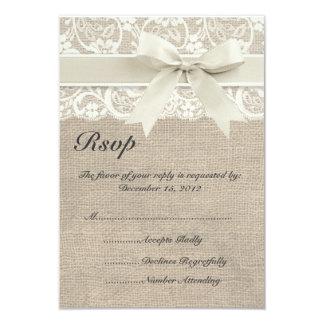 Ivory Lace Ribbon and Burlap Wedding RSVP Card 9 Cm X 13 Cm Invitation Card