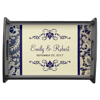 Ivory Lace Royal Navy Blue Elegant Formal Wedding Serving Tray