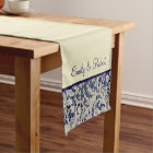 Ivory Lace Royal Navy Blue Formal Reception Short Table Runner