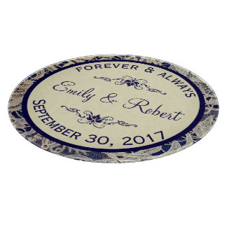 Ivory Lace Royal Navy Blue Formal Wedding Kitchen Cutting Board
