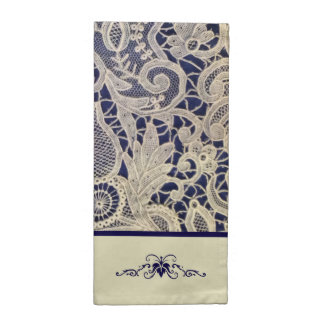 Ivory Lace Royal Navy Blue Modern Formal Wedding Napkin