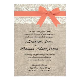 Ivory Lace Rustic Burlap Wedding Invitation- Coral 13 Cm X 18 Cm Invitation Card