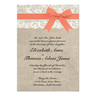 Ivory Lace Rustic Burlap Wedding Invitation- Coral Card