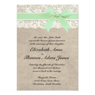 Ivory Lace Rustic Burlap Wedding Invitation- Mint