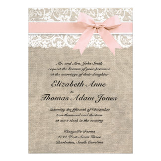 Ivory Lace Rustic Burlap Wedding Invitation- Peach