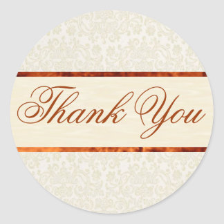 Ivory Lace Thank You Sticker/Seal Round Sticker
