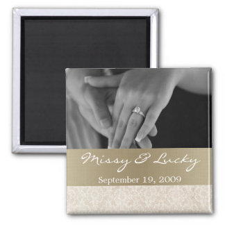 Ivory Lace With Gold Save the Date Magnet