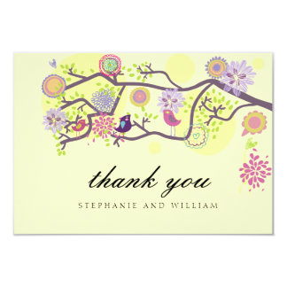 Ivory Love Birds Wedding Thank You Card