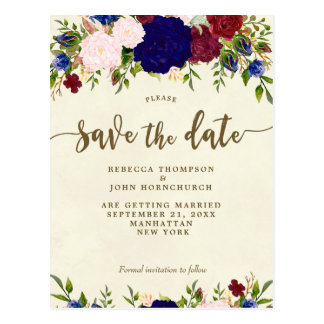 ivory navy floral wedding save the date postcard