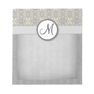 Ivory on Silver Damask and Stripes with Monogram Notepad