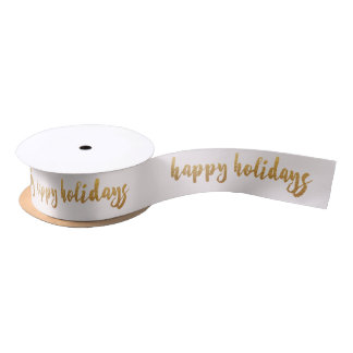 Ivory Pastel Golden Happy Holidays Reinadeer Satin Ribbon