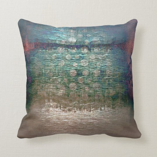 Ivory Pearly Teal Emerald Aquatic Abstract Grungy Cushion